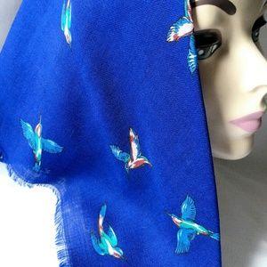 HUMMINGBIRD Scarf-Navy Blue-Bird-Neck/Head-Wrap
